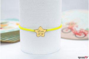 Bratara BABY STAR 15mm TEXT placata cu aur