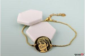 Bratara COIN 16.5mm FOTO placata cu aur (Lant Beads)