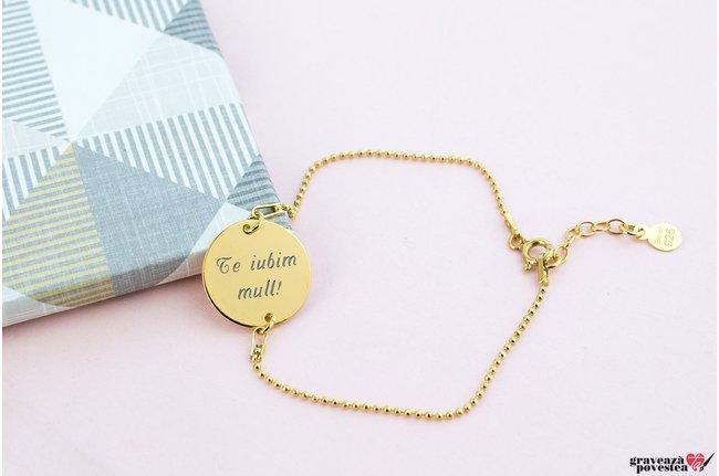 Bratara COIN 16.5mm TEXT placata cu aur (Lant Beads)
