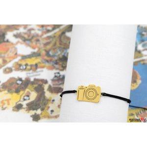 Bratara CAMERA 17mm TEXT placata cu aur