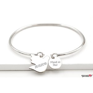 Bratara CHARM BANGLE BIRD OF PEACE 16mm TEXT