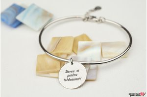 Bratara CHARM BANGLE - COIN 16.5mm TEXT