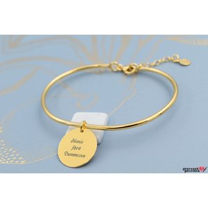 Bratara CHARM BANGLE - COIN 16.5mm TEXT placata cu aur