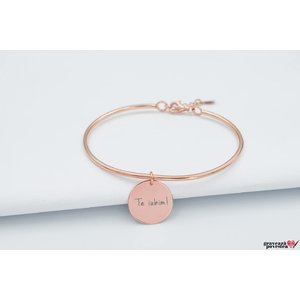 Bratara CHARM BANGLE - COIN 16.5mm TEXT placata cu aur roz