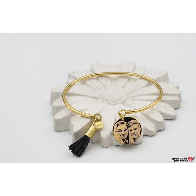 Bratara CHARM BANGLE POMPON 16.5mm FOTO placata cu aur