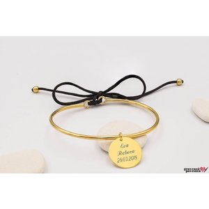 Bratara CHARM BANGLE SNUR 16.5mm TEXT placata cu aur
