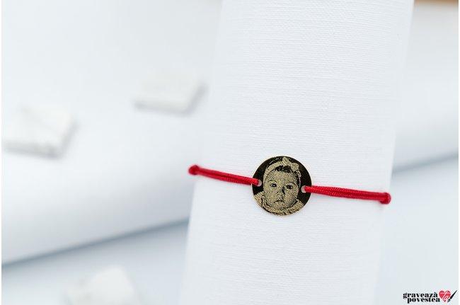 Bratara COIN 10mm FOTO - BABY PORTRET GOLD 14K