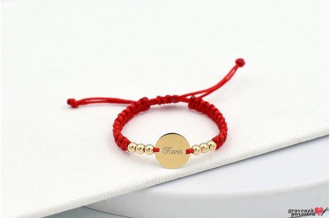 Bratara Beads COIN 10mm GOLD 14K TEXT (Snur impletit)