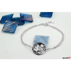 Bratara Elastic Silver Beads COIN 16.5mm FOTO