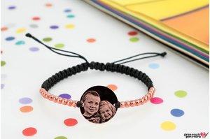 Bratara Silver Beads COIN 16.5mm FOTO (Snur impletit) placata cu aur roz