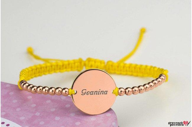Bratara COIN 16,5MM SILVER BEADS TEXT placata cu aur roz cu snur impletit