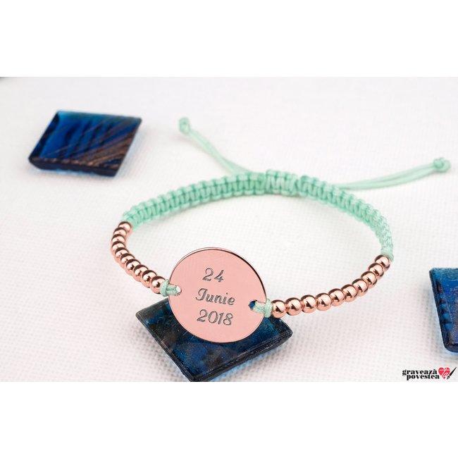 Bratara Silver Beads COIN 16.5mm TEXT (Snur impletit) placata cu aur roz