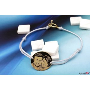 Bratara COIN 22mm FOTO EASY LOCK placata cu aur ( snur gros )