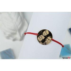 Bratara COIN 22mm FOTO placata cu aur ( snur gros )