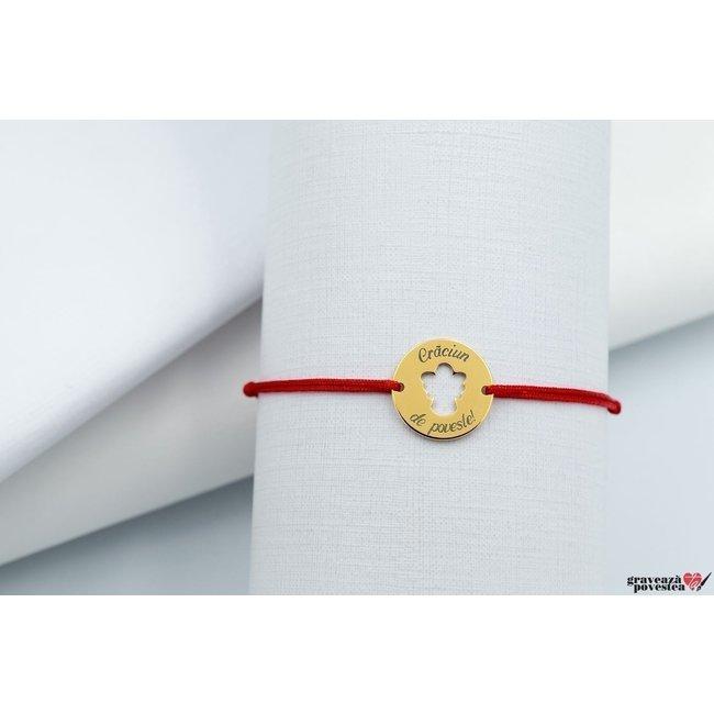 Bratara COIN ANGEL 15mm TEXT placata cu aur