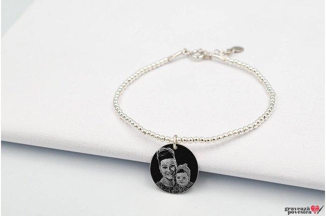 Bratara CHARM Elastic Silver Beads COIN 16.5mm FOTO