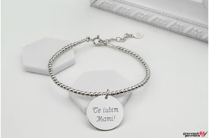 Bratara CHARM Elastic Silver Beads COIN 16.5mm TEXT