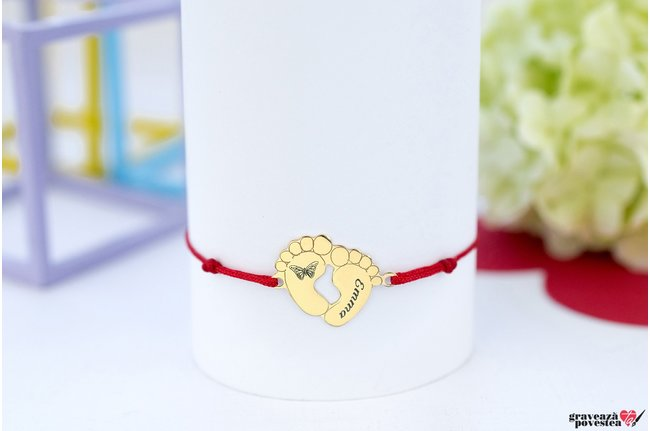 Bratara CUTE BABY FEET 17mm GOLD 14K TEXT