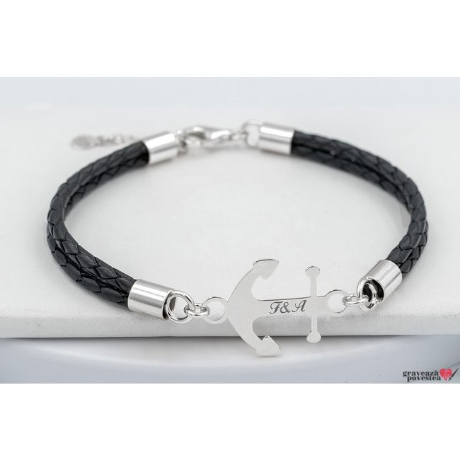 Bratara DOUBLE LEATHER ANCHOR 24mm TEXT