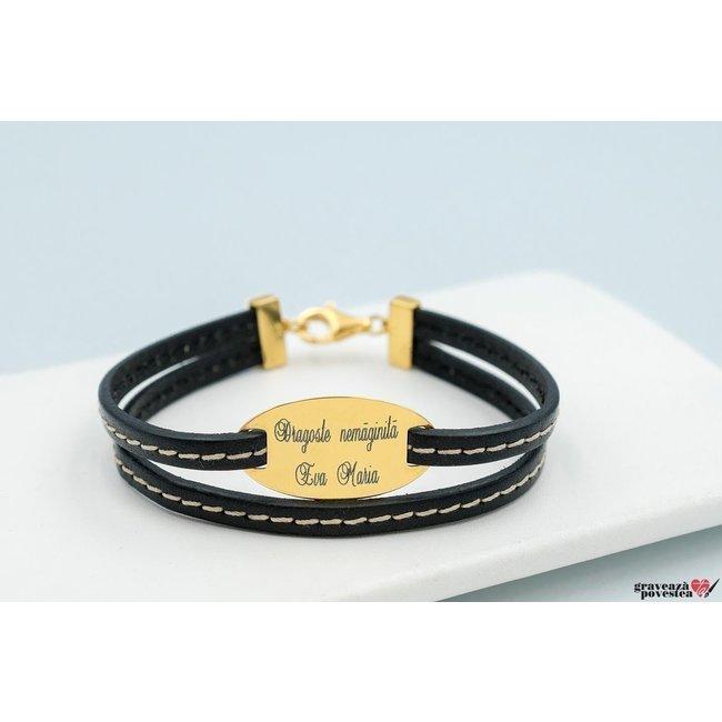 Bratara Double Stitched Leather OVAL 28mm TEXT placata cu aur