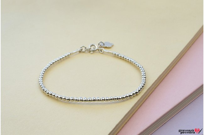 Bratara SUPLIMENT Elastic Silver Beads (2.2mm)
