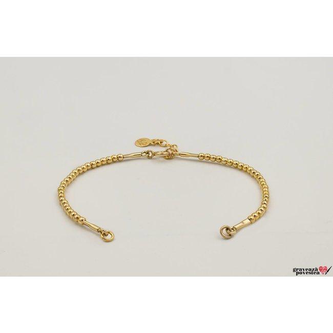 Bratara SUPLIMENT CHARM Elastic Silver Beads placata cu aur
