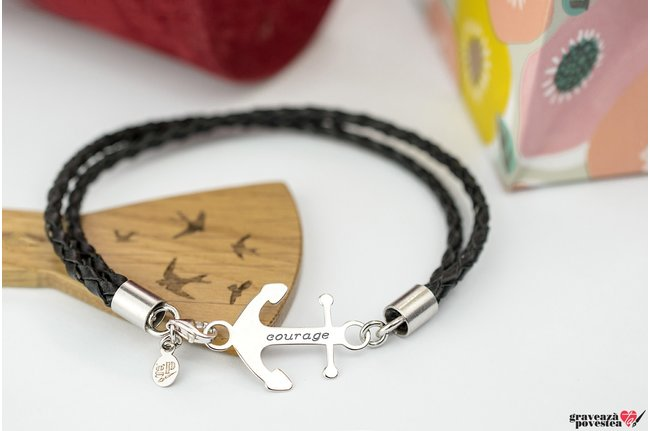 Bratara ANCHOR 24mm PURE LEATHER WRAP cu snur impletit