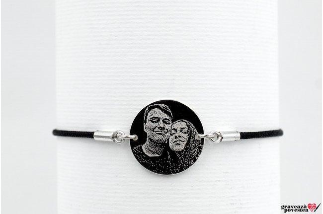 Bratara snur gros banut fix 17 mm personalizat gravura foto Argint 925 rodiat (cu carabina)