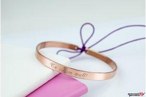 Bratara FOR HER FIXA CUFF TEXT din argint masiv placat cu aur roz