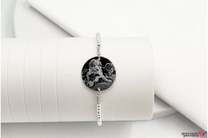 Bratara Elastic Silver Beads XL COIN 19mm FOTO