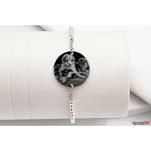 Bratara bilute XL banut fix 19 mm personalizat gravura foto Argint 925 rodiat