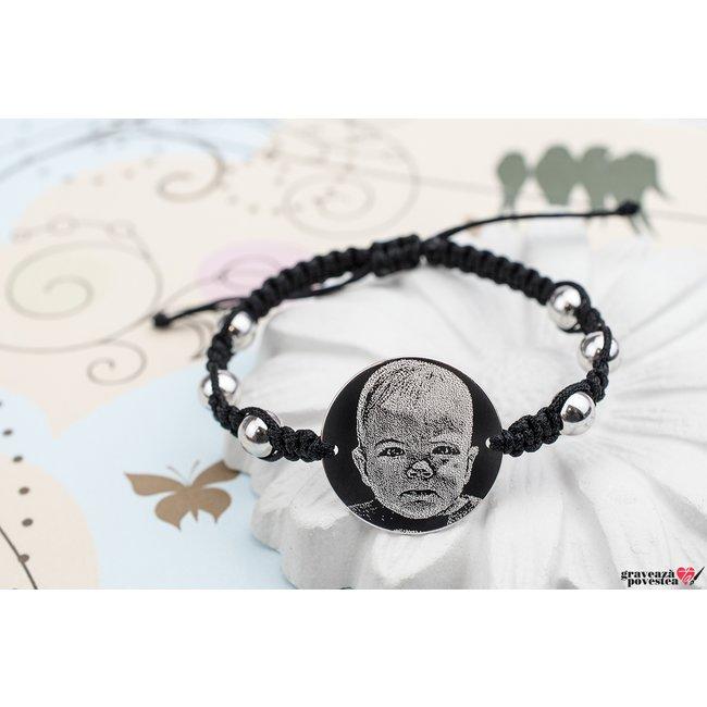 Bratara snur impletit tip Shamballa banut 22 mm personalizat gravura foto Argint 925 rodiat