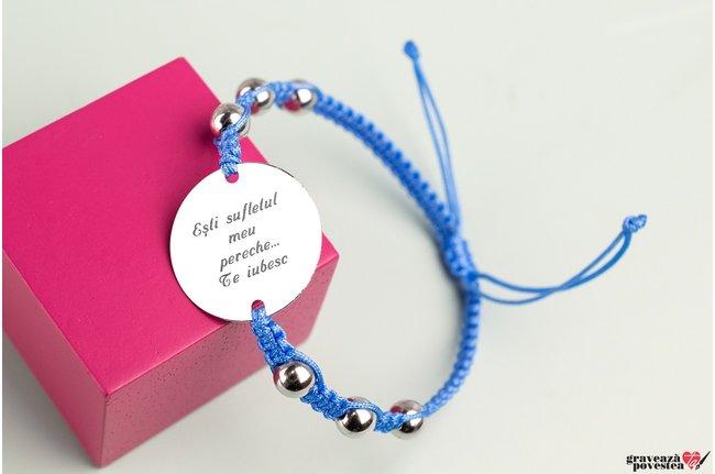 Bratara Maxi Beads COIN 22MM TEXT (Snur impletit)