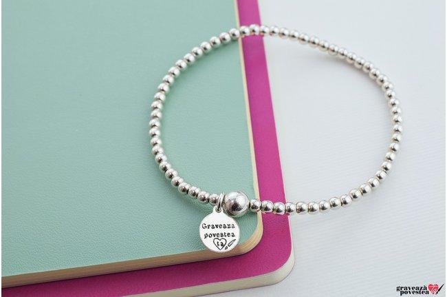 Bratara SUPLIMENT Elastic Silver Beads XL (diamentru bilute 3,1 mm)