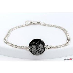 Bratara lant banut 17 mm personalizat gravura foto Argint 925 rodiat (lant Curbed)
