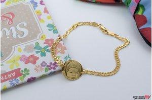 Bratara cu zale lant COIN 16.5mm FOTO placata cu aur