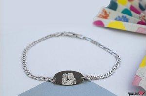 Bratara lant oval 22 mm personalizat gravura foto Argint 925 rodiat (lant Curbed)