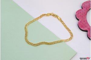 Bratara SUPLIMENT lant CURBED (3mm) placata cu aur