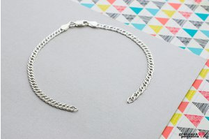Bratara lant supliment Argint 925 rodiat (lant Curbed)