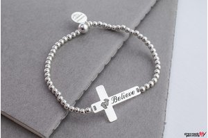Bratara FOR HIM - THE CROSS 28MM TEXT - ELASTIC SILVER BEADS