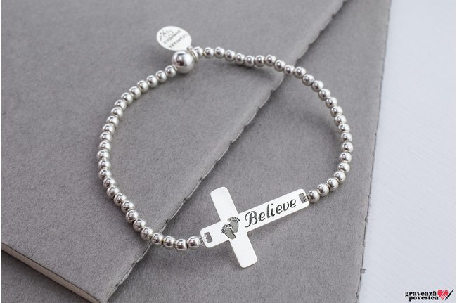 Bratara Elastic Silver Beads XL THE CROSS 28mm TEXT