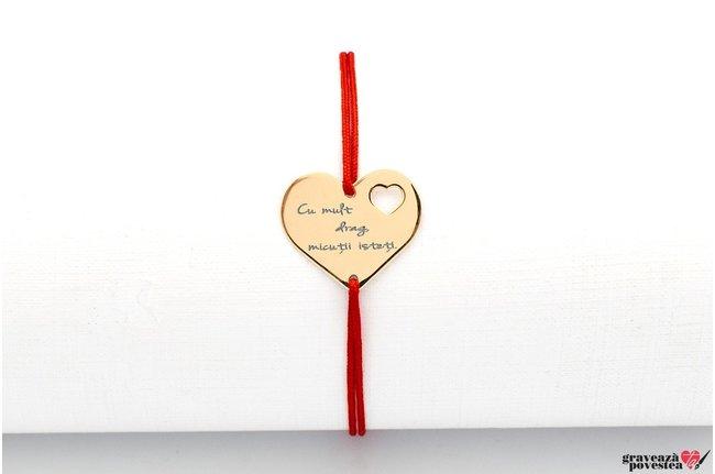 Bratara snur inima in inima 18 mm personalizata gravura text Aur 14K