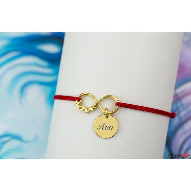 Bratara INFINITY LOVE COIN 10mm placata cu aur