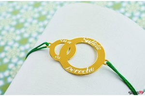Bratara CIRCLE & BABY CIRCLE 26mm TEXT placata cu aur