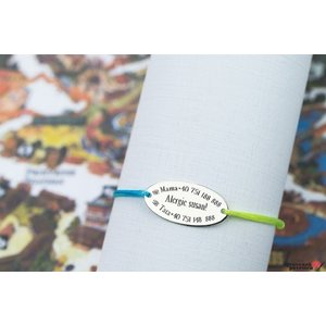 Bratara snur cu date siguranta copil oval 22 mm personalizat gravura text Argint 925 rodiat