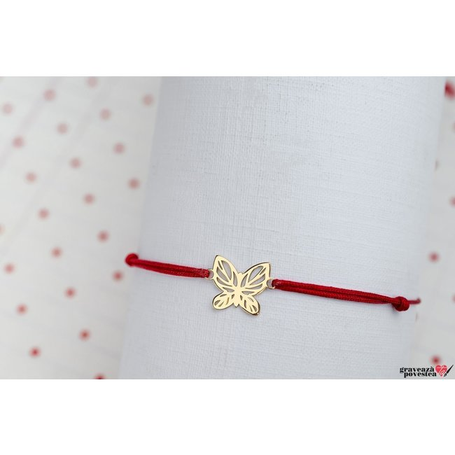 Bratara LACE BUTTERFLY 12mm PURE GOLD