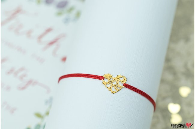 Bratara LACE HEARTS 11mm placata cu aur