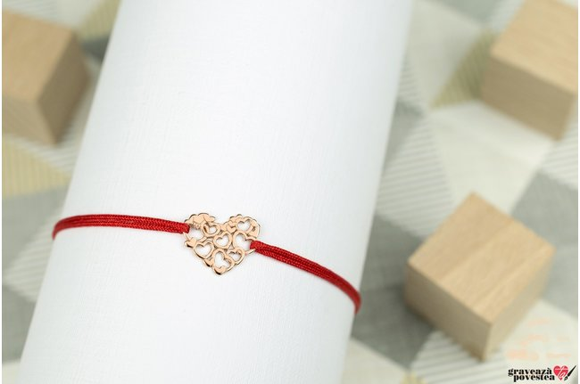 Bratara LACE HEARTS 11mm placata cu aur roz