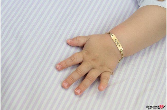 Bratara lant BABY PLATE 21mm GOLD 14K (nou nascut -10 ani)