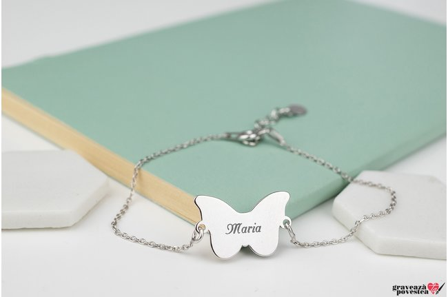 Bratara lant BUTTERFLY 20mm TEXT